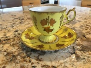 Royal Halsey Very Fine Antique Saucer Tea Cup Set Yellow Gold