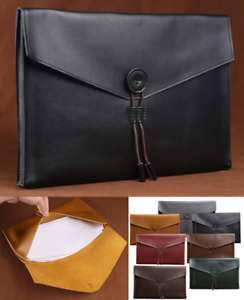 Cow Leather File Folder Pocket Messenger Bag Briefcase Customize Black Z621