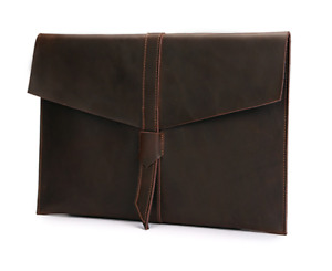 Cow Leather File Folder Pocket Case Messenger Bag Briefcase Handmade Brown Z624