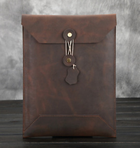 Cow Leather File Folder Pocket Messenger Case Bag Briefcase Customize Brown Z622