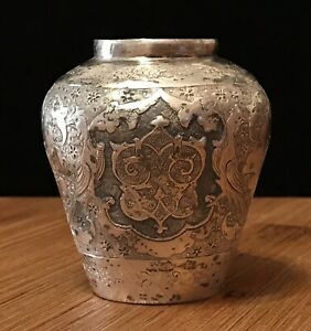 Vintage Antique Persian Sterling Silver Isfahany Small Vase