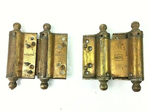 Vintage Pair Brass Bommer4 Inch Spring Saloon Screen Door Hinges Hardware