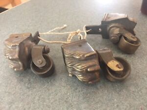 Antique Vintage Brass Bronze Lions Paw Claw Feet Furniture Casters Wheels 3pc