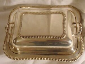 Vintage E P N S Square Covered Serving Dish With Handled Lid