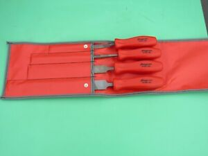 Rare Snap On File Set 4 Piece Red Hard Handle Hbf500 Round Flat 3 Squ Hbf