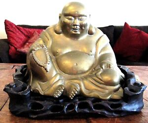 Large Antique Bronze Buddha Statue On Carved Wood Stand