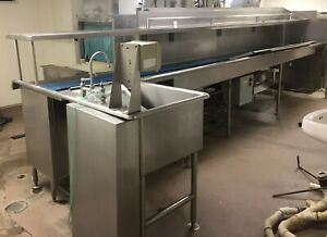 Hobart Conveyor Dish Washing Station Dirty Dish Sink Table Stainless Steel