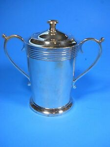 Silver Plated Epns Twin Handle Sugar Bowl Pot Cup With Lid 5 5 Tall Weight 15 2