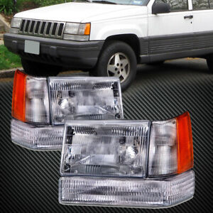 Headlights Headlamps 6pc Set Pair Fits 93 96 Jeep Grand Cherokee