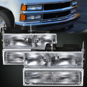 Headlights Halogen Chrome 4 pc Stock Style Set Fits 1994 1999 Chevrolet Truck
