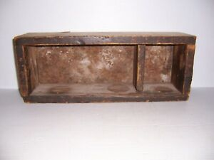 Vintage Wooden Box Shelf With Metal Back Primitive Country Farm Decor