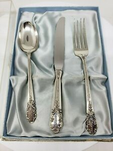 Vintage Rogers Sterling Bridal Veil 3 Pc Youth Flatware Set In Original Box