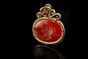 Antique Victorian Carnelian Intaglio Greek Men Gold Filled Fob A804 52