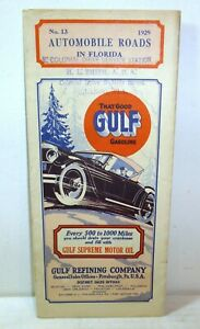 1929 Gulf Gasoline Automobile Road Map Of Florida Miami Daytona Jacksonville