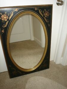 Ethan Allen Hitchcock Style Black Stenciled 14 9217 Mirror 1970 S 24x36 Euc