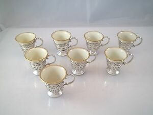 Set Of 8 Sterling Silver Demitasse Cup Holder German Porcelain Liners Like Lenox