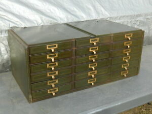 Vintage 1930 S Industrial Metal Cabinet With 18 Drawers With Brass Handles