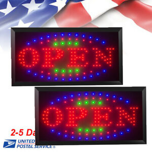 2 bright Animated Flash Led Open Neon Store Shop Display Light Business Sign Usa