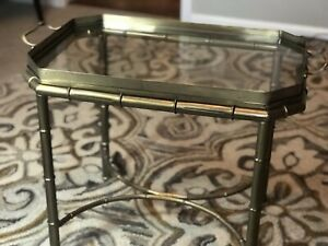 Vintage Master Craft Faux Bamboo Brass Glass Tray Top Table Hollywood Regency