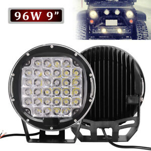 2x 9 inch Led Work Lights 185w Off Road Backup Driving For Jeep 4x4 Truck Round