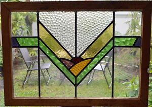Antique Leaded English Stained Glass Window Wood Frame England Old House 66
