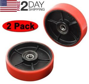 Brand New Pallet Jack truck Steering Wheels Set 2 Pcs With Bearings Poly Tread