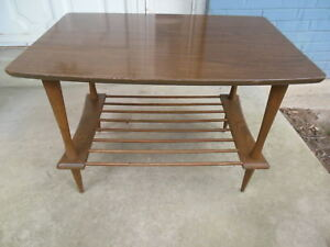 Mid Century Modern End Table W Shelf Laminate Top Wood Unknown Maker 1603