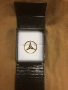 Vintage 1970 s 1980 s Mercedes Benz 14k Gold Emblem Pin W Locking Clasp In Box