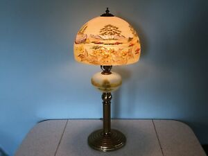 Vintage Reverse Painted Glass Table Lamp W Dome Shade Obverse Font Antique