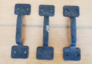 Lot Of 3 Vintage Wrought Iron Gate Shed Door Cabinet Handle 5 Long D