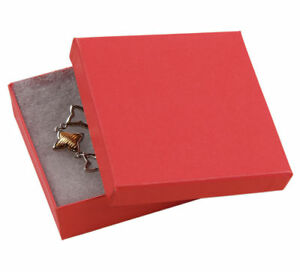 Jewelry Boxes 100 33 Red Matte Finish Cotton Filled Retail Gift 3 X 3