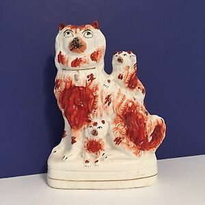 Antique Staffordshire Figure Dog Red White Terrier 2 Pups One Pup Waving C 1860