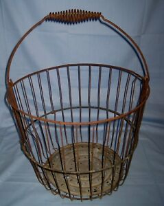 Vtg Antique Primitive Barn Find Wire Egg Gathering Basket Farm 15 X 11 3 4