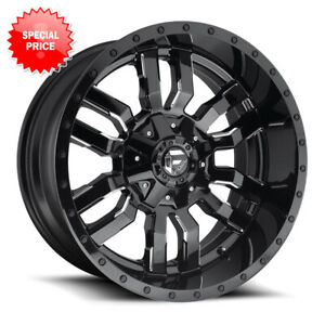 Fuel Sledge D595 Rim 22x10 6x135 6x5 5 Offset 10 Gloss Black Milled Qty Of 4
