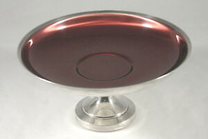 Oneida Silversmiths Silver Plate 6 Compote W Cherry Red Enamel Interior