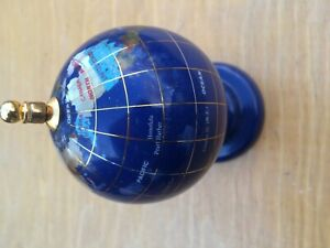 Blue Lapis Small Gemstone Globe World Stand Precious Stones Desk Top