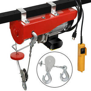 880lb Pulley Electric Winch Lift Hoist Garage Crane Overhead Lift Racks Pulley