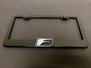 1pc 3d F Logo Sport Black Metal License Plate Frame Holder Style Blk