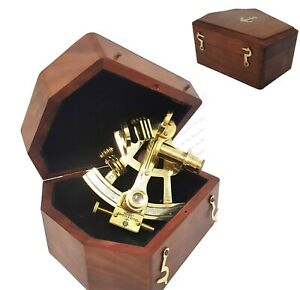 Sextant Brass Navigation Instrument Sextant In Hardwood Gift Box