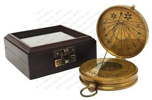 3 Inches Brass Sundial Compass In Gift Box Brass Antique Finish