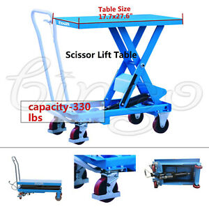 Eoslift Ta15 Hydraulic Manual Scissor Lift Table Carts 17 7 X 27 6 330 Lbs Cap