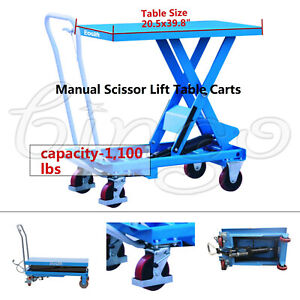 Eoslift Ta50 Hydraulic Manual Scissor Lift Table Cart Ca 1 100lbs 20 5x39 8 Us