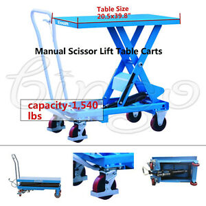 Eoslift Ta70 Hydraulic Manual Scissor Lift Table Cart Ca 1 540lbs 20 5x39 8 Us