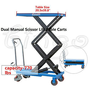 Eoslift Tad35 Hydraulic Dual Manual Scissor Lift Table Cart 770lbs 20 5x39 8 Us