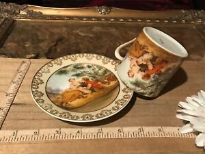Vintage Porcelain Courting Couple Tea Cup Saucer Numbered