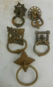 5 Different Various Vintage Spanish Gothic Drop Ring Drawer Cabinet Pulls Keeler