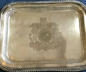 Rare Ics Coat Of Arms Of The Uk Silverplated 15x12 Heavy Tray Platter