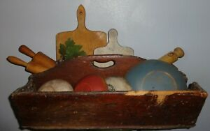 Large Dovetail Antique Wooden Tote Tool Tray Painted Bowls Breadboads Aafa