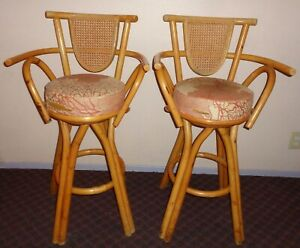 Vintage 50s 1950 Lot 2 Hawaiian Rattan Bamboo Tiki Bar Stool Swivel Chair Surf