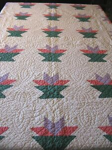 Antique Vtg Tulip Flower In Vase Patchwork Quilt 76 X 66 Hand Quilted